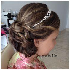 Hair: www.krystieann.com  Wedding hair, bridal hair, junior bridesmaid hair, updo, wedding updo, wedding headband, punta cana wedding, paradisus palma real, elegant hair
