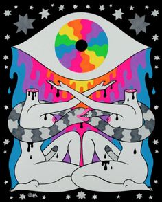 """Oliver Hibert's """"Magic Powers"""" at Nucleus Portland.Currently on. Trippy Drawings, Cool Drawings, Crowd Drawing, Psychadelic Art, Indie Room Decor, Vaporwave Art, Psychedelic Pattern, Sketchbook Project, Sketch Inspiration"""