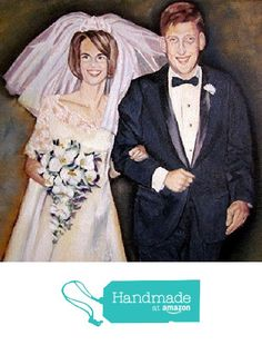 Custom portrait painting, 2 people, Example Bride and Groom Wedding oil paint on canvas from Bee Skelton Portrait Artist http://www.amazon.com/dp/B015UPA0PO/ref=hnd_sw_r_pi_dp_RpPowb0EQTQ2N #handmadeatamazon