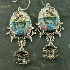 Mermaid Earrings Seahorse Earrings Oyster Silver Filigree Nautical Vintage Style Long by ForTheCrossJewelry on Etsy https://www.etsy.com/listing/66885315/mermaid-earrings-seahorse-earrings