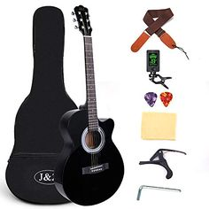 Beginner Acoustic Guitar 40 Inch Steel Strings Cutaway Mahogany Black Starter Guitar Bundle with Gig Bag Clip Tuner Capo Strap 2 Picks and Wipe for Student Child Adult Guitar Kits, Guitar Bag, Cool Guitar, Guitar Shop, Guitar Tuners, Bag Clips, Playing Guitar, Steel, Ovation Guitars