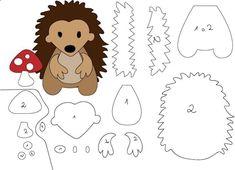 9 moldes de bichinhos para feltro - Feltro e moldes para artesanato Felt Animal Patterns, Felt Crafts Patterns, Applique Patterns, Stuffed Animal Patterns, Diy Stuffed Animals, Sewing Crafts, Sewing Projects, Hedgehog Craft, Felt Templates