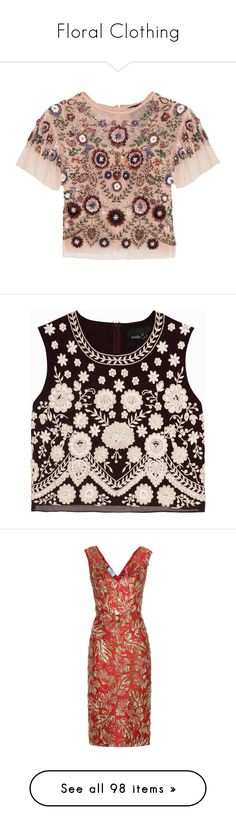 """""""Floral Clothing"""" by belladonnasjoy ❤ liked on Polyvore featuring tops, shirts, blusas, blouses, t-shirts, loose shirt, embellished tops, cropped tops, victorian shirt and beaded crop top"""