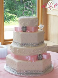 """wedding cakes pink and white and silver   Bill Levkoff Capri Blue Wedding Cake with Soft Ivory """"Lace"""" Overlay ... #pinkweddingcakes"""