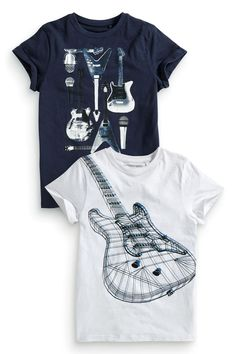 Buy Two Pack White And Navy Guitar T-Shirts (3-16yrs) from the Next UK online shop