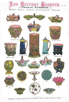 A Coloured advertisement in the Pottery Gazette June 1883 Shop Around, Library Design, Italian Renaissance, Pottery Making, Earthenware, Pottery Art, A Table, Objects