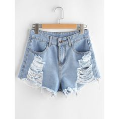 Ripped Frayed Hem Denim Shorts (210 CZK) ❤ liked on Polyvore featuring shorts, blue, blue jean shorts, distressed shorts, embellished jean shorts, distressed denim shorts and ripped denim shorts