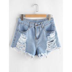 Ripped Frayed Hem Denim Shorts ($9.99) ❤ liked on Polyvore featuring shorts, blue, zipper shorts, distressed shorts, ripped denim shorts, ripped shorts and destroyed shorts