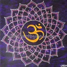 "Crown Chakra, 2014. 10"" x 10"", Textured henna style acrylics mandala painting on canvas. © Bala Thiagarajan, 2014. www.artbybala.com"