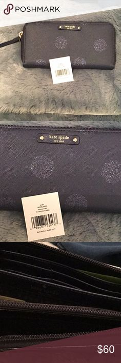 34bd2500fa9d Kate Spade wallet Ned s.....Haven Lane navy blue with glitter polka