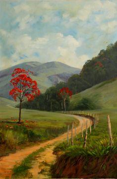 Estrada com árvores vermelhas | Ateliê Arroio - Pintura em Tela | Elo7