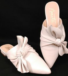 Nanette Lepore Flats Slides Shoes Womens Size 6 Bone White Pointed Toe Side Bow #NanetteLepore #Slides #SpecialOccasion
