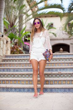 White short denim overalls and lace top w/ havaianas flip flops!  http://www.songofstyle.com