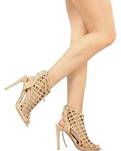 Women's Peep Toe Cut Out Strappy Lace Up high heel Ankle Sandals Women's Peep Toe Cut Out,  4.2 out of 5 stars 17 $29.99