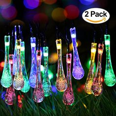 2 Pack Solar Strings Lights Perfectwo 20ft 30 LED Water Drop Solar Fairy Lights Waterproof Christmas Lights for Garden Patio Yard Home Parties Multi Color * Read more  at the image link.