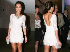 Esse vestido de renda branco com decote nas costas da Sabrina Satto está di-vi-no! E sexy ;) #HOT