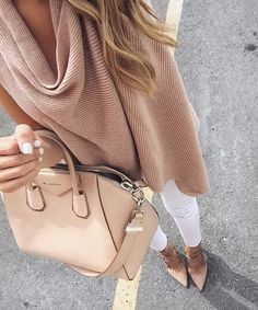 Nude & white outfit - fall fashion