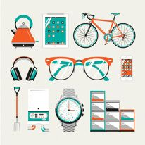 illustration of icons design vector glasses watch bicycle ipad iPhone cellphone filing cabinet kettle pitchfork ear defenders headphones boi. Design Ios, Icon Design, Logo Design, Bike Design, Flat Design Illustration, Graphic Illustration, Bike Illustration, Creative Illustration, Branding