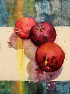 Brenda Swenson: video of stained paper collage + watercolors on pomegranates.