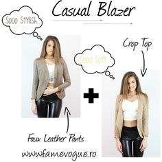 Casual Blazer Famevogue Look by www.famevogue.ro on Polyvore.  #casual #blazer #style #fashion #trends Polyvore Casual, Faux Leather Pants, Casual Blazer, Style Fashion, Fashion Trends, Outfit Ideas, Crop Tops, Stylish, Outfits