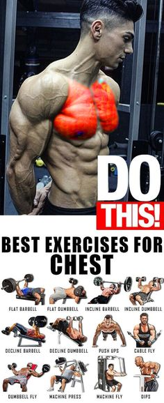 Chest Exercises Push Workout, Gym Workout Tips, Aerobics Workout, Weight Training Workouts, Workout Plans, Fitness Workouts, Chest Workout Routine, Abs Workout Routines, Biceps Workout