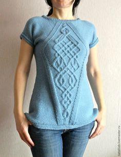Купить Жилет женский - голубой, однотонный, жилет, майка летняя, вязание спицами, стильный, украина