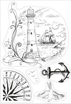 xKanban clear rubber stamps - Seascape, lighthouse, anchor, bird