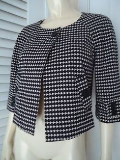 ANN TAYLOR LOFT PETITES Sz XSP Jacket Stretch Cotton Retro Mad 60s Short Trapeze