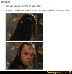 This is actually almost exactly the look my mom gives me. It shuts me up fast. Guys I'm an elf/hobbit hybrid Into The West, Into The Fire, Thranduil, Legolas, Aragorn, Concerning Hobbits, One Does Not Simply, Fandoms, Jrr Tolkien