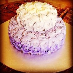 2 tier Purple Ombre Vanilla Cake with Nutella filling topped with Buttercream icing!