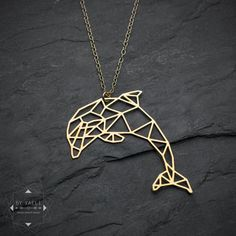 Dolphin necklace animal necklace origami necklace fish by ByYaeli
