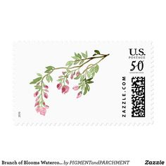 Branch of Blooms Watercolor Stamps Dusty Rose Pink Flowers Floral Greenery  Wedding postage stamps for sale by Pigment & Parchment on Zazzle