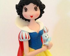 Princess Inspired Cold Porcelain Snow White Cake Topper or Decoration Fondant Figures, Clay Figures, Fondant Toppers, Fondant Cakes, Cupcake Cakes, Cupcakes, Snow White Cake, Snow White Doll, Diy Clay