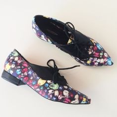 """✨SALE!✨ NIB Jewel Oxfords Really cool vegan leather oxfords with pointed toe and rad novelty jewel print. (Half sizes, please choose a half size down!)  Material: Vegan Leather Heel: 3/4"""" Brand: Like Dreams.  Condition: Never worn! New in box!   Check my closet out for more cool stuff! Bundle & save 20%! Like Dreams Shoes Flats & Loafers"""