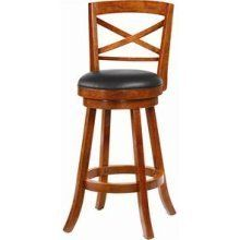 """Bar Stools 29 Swivel Upholstered Seat - Coaster 101940"""" by Coaster Home Furnishings. $250.80. Bar Furniture. Add functional and homey seating in your home bar or the gathering area in your home. This smart looking bar stool features a swivel capability with a gorgeous light cherry finish, a support and foot rest ring, and an upholstered plush seat with wood seat back design. Create sophisticated and beautiful seating options for your home with this swivel bar stool.This item wi..."""