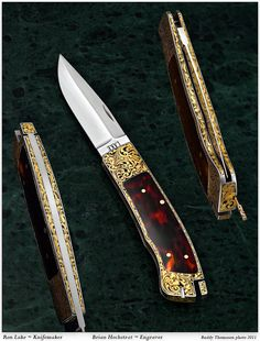 Gold Ron Lake tail lock engraved by Brian Hochstrat. This was a stainless knife he turned into pretty much an all gold knife.