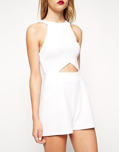 Image 3 of ASOS Romper in Texture with Cutout Detail