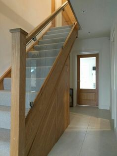 Staircase – Home Renovation House Staircase, Interior Staircase, Staircase Railings, Modern Staircase, Bannister, Banister Ideas, Stairways, Oak Stairs, Glass Stairs