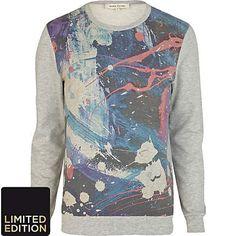 Grey paint print sweatshirt - sweatshirts - hoodies / sweatshirts - men