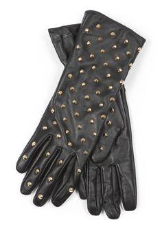 BIK BOK, Emmy, golden rivet leather gloves.