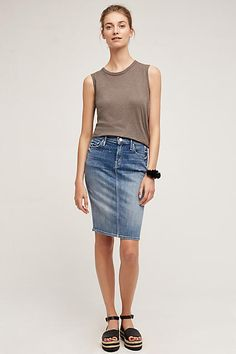 Stretch cotton denim skirt. Mother Back-Slit Pencil Skirt