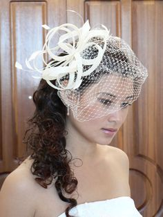 Ivory Veiled Feather Fascinator