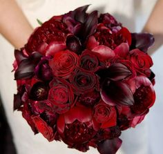 That's exactly what i would want for my wedding.Dark red bride bouquet