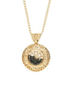 Look what I found on #zulily! Black Spinel & Gold Floating Filigree Pendant Necklace #zulilyfinds