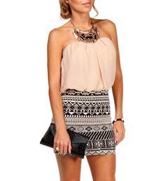 BlackTaupe Bloussant Aztec Dress
