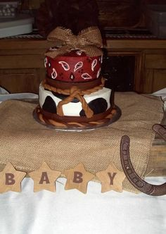 Western Baby Shower Cake goes perfect with the nursery