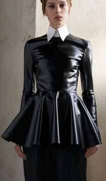 black leather peplum- Céline Pre-Fall 2013