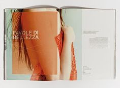 Nice double page spread layout with text and image. I like the use of transparent coloured shapes over images.