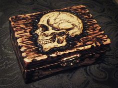 pyrography jewelry box skull - Google Search