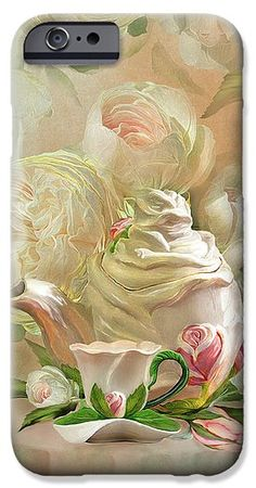 Tea And Roses 2 phone case featuring the art of Carol Cavalaris. Art Phone Cases, Iphone Cases, Iphone 11, Presentation, Roses, Tea, Prints, Painting, Image
